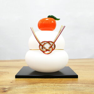 ガラスの白い鏡餅(LL) glasscalico グラスキャリコ ハンドメイド ガラスアート 化粧箱付 ガラス製 かがみもち オブジェ 置物 お正月