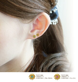 <新作>耳つぼピアス【太陽/サンゴールド】(2粒付き)チタン粒耳つぼジュエリー説明図マグレイン