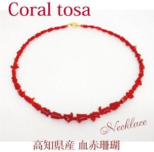 高知県産血赤サンゴ ヤタラネックレス長さ53cm 金具18K 高知県珊瑚共同組合認定保証書付