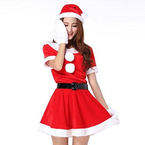超かわいい & セクシー サンタ ミニワンピ 衣装 クリスマス コスプレ サンタ 帽子 ベルト ふかふか 白手袋 4点 セット
