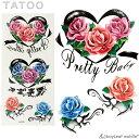 タトゥー シール 3D バラ 花 防水 ボディシール TATOO 入れ墨 刺青 転写 防水 かわいい カラフル M025