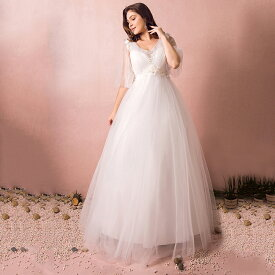 【大きいサイズウェディングドレス】ウェディングドレス/ロングウエディングドレス/エンパイアライン/編み上げタイプ/床付き/フレア袖/Vねック【ホワイト】【XL〜7XLサイズ】【fh43】