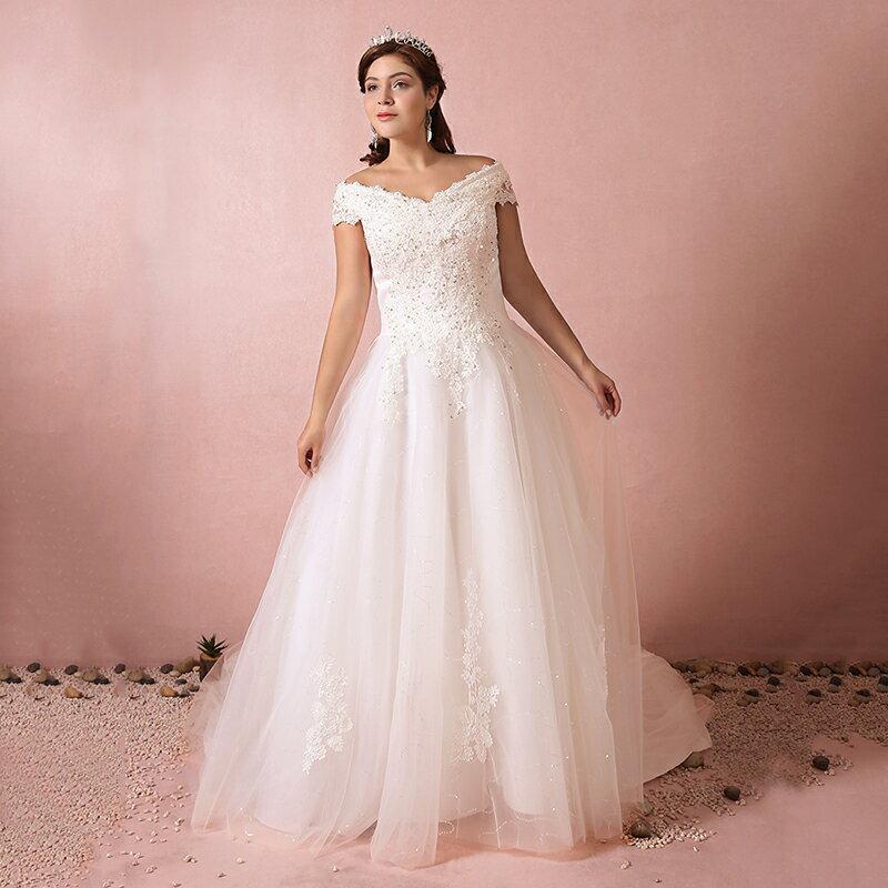 【大きいサイズウェディングドレス】ウェディングドレス/ロングウエディングドレス/Aライン/編み上げタイプ/床付き/オフショルダー【ホワイト】【床付きタイプ・トレーンタイプ】【XL〜7XLサイズ】【fh45】