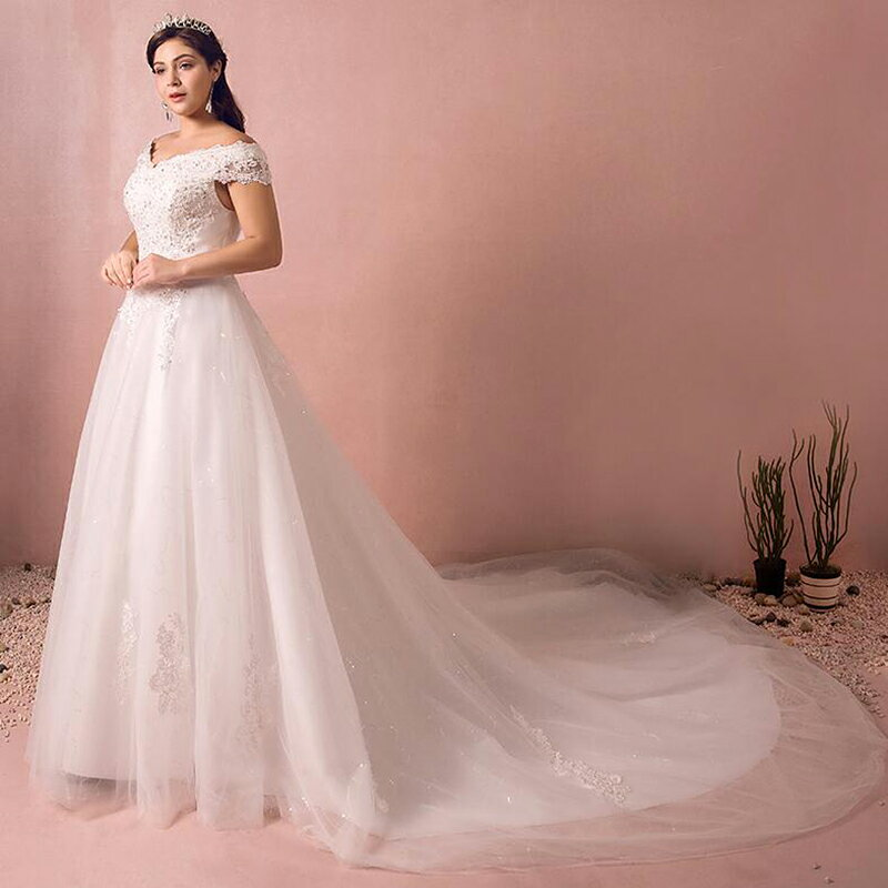 【大きいサイズウェディングドレス】ウェディングドレス/ロングウエディングドレス/Aライト/編み上げタイプ/床付き/オフショルダー【ホワイト】【床付きタイプ・トレーンタイプ】【XL〜7XLサイズ】【fh45-to】