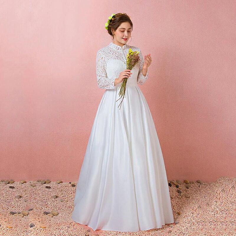 【大きいサイズウェディングドレス】ウェディングドレス/ロングウエディングドレス/Aライト/編み上げタイプ/床付きタイプ/ハイネックライン【ホワイト】【XL〜7XLサイズ】【fh46】