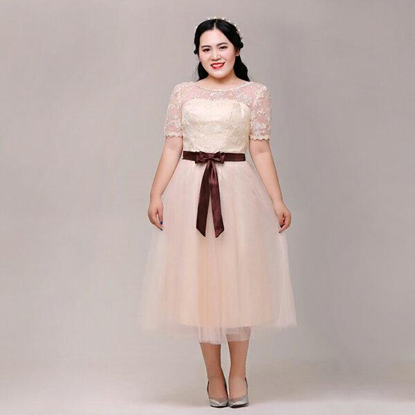 【大きいサイズカラードレス】ミモレ丈ドレス/大きいサイズウェディングドレス/ウエディングドレス/ミニドレス/ブライズメイドドレス/編み上げタイプ【ライトシャンパン】【XL〜7XL】【fhd10】