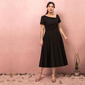【大きいサイズカラードレス】ミモレ丈ドレス/大きいサイズウェディングドレス/ウエディングドレス/ミニドレス/ブライズメイドドレス/袖あり/刺繍/ファスナータイプ【ブラック】【2XL〜7XL】【fhd14】