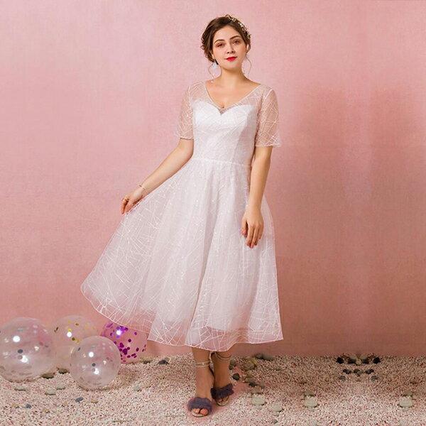 【大きいサイズウェディングドレス】ミモレ丈ドレス/白いドレス/大きいサイズレディースドレス/ウェディングドレス/ウエディングドレス/袖付き/Vネック/編み上げタイプ【ホワイト】【XL〜7XL】【fhd24】