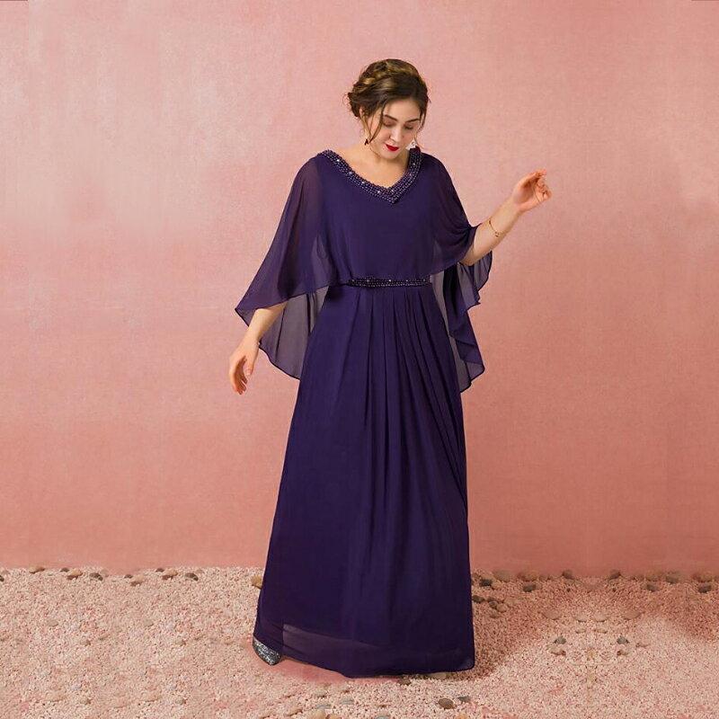 【大きいサイズカラードレス】大きいサイズパーティードレス/ウエディングドレス/ロングドレス/ブライズメイドドレス/スレンダーライン/編み上げタイプ/床付きタイプ/ショール一体タイプ【パープル】【XL−7XLサイズ】fhk19