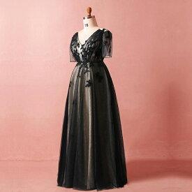 【大きいサイズカラードレス】大きいサイズパーティードレス/ウエディングドレス/ロングドレス/ブライズメイドドレス/Aライン/編み上げタイプ/床付きタイプ【ブラック】【XL−7XLサイズ】fhk23