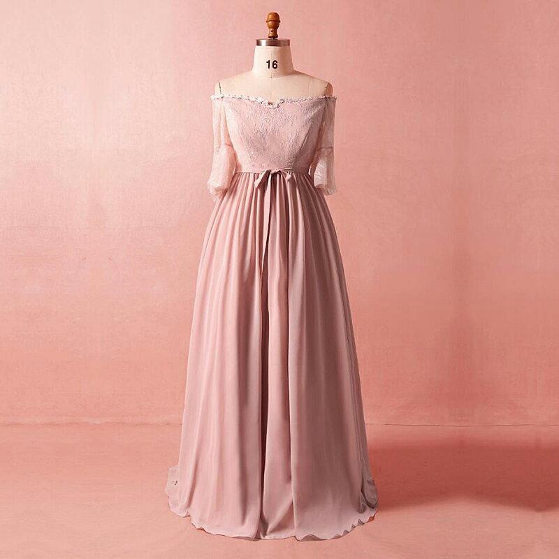 【大きいサイズカラードレス】大きいサイズパーティードレス/ウエディングドレス/ロングドレス/Aライン/編み上げタイプ/床付きタイプ【ピンク】【XL−7XLサイズ】fhk27