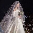 ロングベール 2層ベール コーム付き 結婚式 ウェディングベール ウエディングベール 結婚式 レース【ホワイト・オフホ…