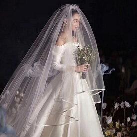 ロングベール 2層ベール コーム付き 結婚式 ウェディングベール ウエディングベール 結婚式 レース【ホワイト・オフホワイト】【長さは約0.9m+3m】【ts114tm】