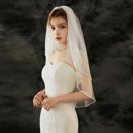ウエディング ベール【ショート/ミドル・2層・金属コーム付き】【各層の長さは約65cm/80cm】結婚式 Wedding Veil ウェディングベール 写真色(オフホワイト)・ホワイト【ts147qq】