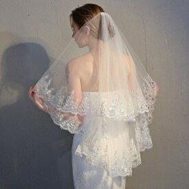 ウェディング ベール【ミドル】ウエディングベール Wedding Veil 結婚式 ベール/2層/コーム付き(金属コームに変更しました)/レース・刺繍/ベールUP儀式OK【ホワイト・オフホワイト】【長さ約60cm・90cm】【ts2】