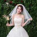 ウェディングベール ショートベール ウエディングベール 結婚式 ミドルベール コーム付き ベールUP儀式OK レース ホワ…