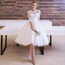 ウェディングドレス【着丈は約120cm】ミモレ丈 ウエディングドレス【オーダーメイドも可能】パーティードレス Aライン…