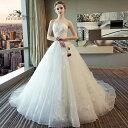 ウェディングドレス ビスチェタイプ ウエディングドレス 床付きタイプ・トレーンタイプ 2タイプ Aライン 編み上げタイ…