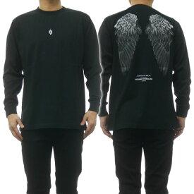 (マルセロバーロン)MARCELO BURLON メンズクルーネックロングTシャツ HEART WINGS T-SHIRT L/S / CMAB007R19001034 ブラック