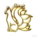 カラワク(空枠)九尾狐 ◆横向き ゴールド色// 枠/フレーム/九尾のキツネ/和風/日本/