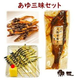 あゆ三昧大鮎甘露煮+小鮎佃煮+小鮎炭焼串みそ付