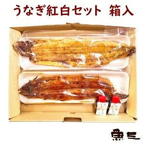 国産鰻紅白 蒲焼1尾 + 白焼1尾 箱包装