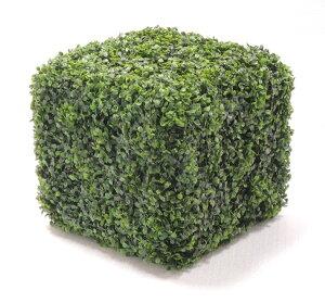 造作オブジェ 高さ43cm (ボックスウッド ツゲ スクエア 造花 観葉植物 植栽 インテリア グリーン 置物 四角)