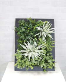 壁面造花ディスプレイD (人工植物/アートフレーム/グリーン)