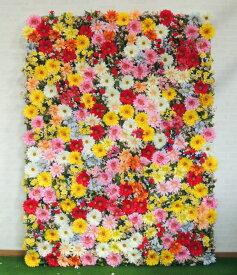 壁面緑化 ガーベラがいっぱいパネル 1.8m×0.9m(大型 目隠し フェイク 装飾 造花)