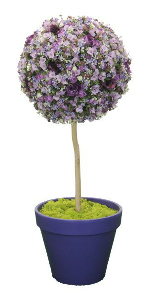 フラワートピアリー120cmパープル(造花 人工 観葉植物 オブジェ インテリア 円形)