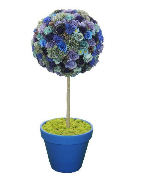フラワートピアリー120cmブルー(造花 人工 観葉植物 オブジェ インテリア 円形 おしゃれ 装飾 お花 置物 ディスプレイ)