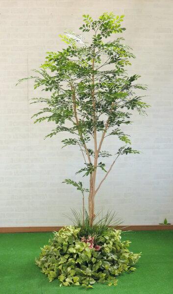 トネリコの木 装飾付き( フェイク 造花 インテリア 人工観葉植物 1.8m)