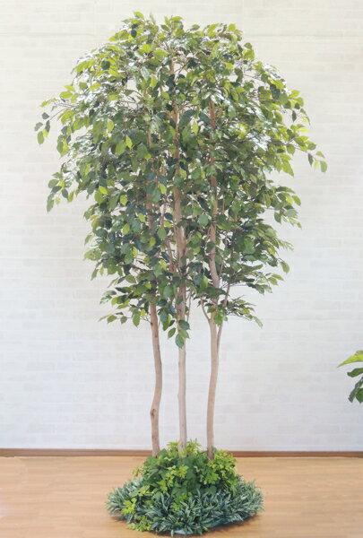 大型サイズのベンジャミン立ち木 高さ250cm装飾付き(フェイク グリーン 人工観葉植物 造花 樹木 造木)