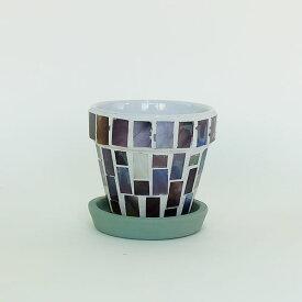 モザイクポット Mosaic Glass Pot バイオレット【植木鉢/おしゃれ/モザイクガラス/インテリア/多肉植物/サボテン】