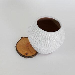 ホワイトフェザーポット【木製台/受け皿/白鉢/おしゃれ 】