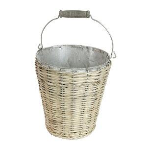 ウィローラウンド バケツグレイM 【ガーデニング 鉢 鉢カバー ブリキ かご アンティーク バスケット】