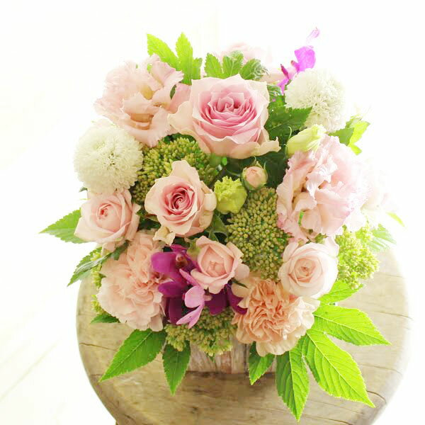 アレンジメントフラワーSサイズ Girlishness(ピンク系)※デザイナーが手がけるお洒落な一品。お見舞いや快気祝いなど、退院後のお祝いに関する贈り物に【送料・メッセージカード無料】【あす楽】