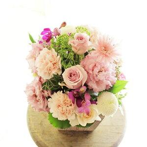 アレンジメントフラワーSサイズ Girlishness(ピンク系)※デザイナーが手がけるお洒落な一品誕生日祝い バースディ 開店祝い オープン記念 室内インテリア 贈り物 フラワーギフト プレゼン