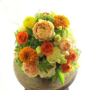 アレンジメントフラワーSサイズ Warm Impressed(黄色・オレンジ系)※デザイナーが手がけるお洒落な一品結婚祝い 入籍祝い ブライダル ウェディング 婚約 贈り物 フラワーギフト プレゼント