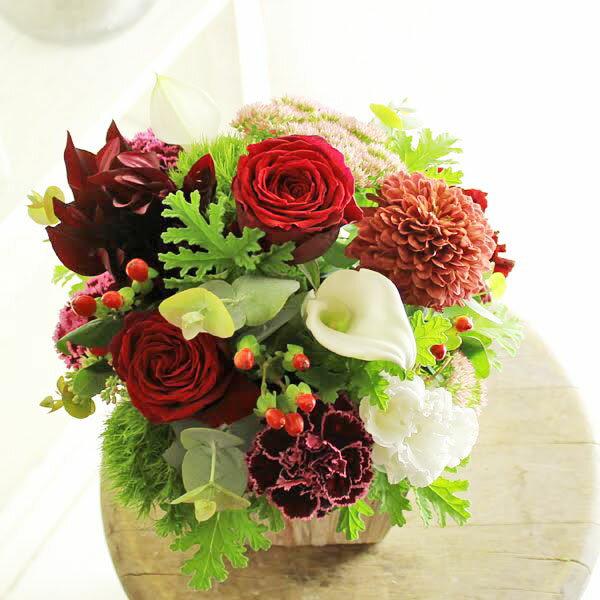 アレンジメントフラワーSサイズ Vivid Red(赤系)※デザイナーが手がけるお洒落な一品。お見舞いや快気祝いなど、退院後のお祝いに関する贈り物に【送料・メッセージカード無料】【あす楽】
