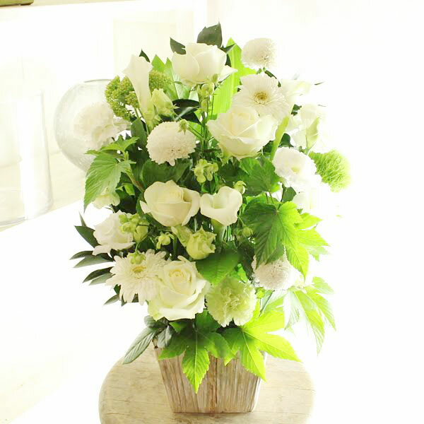 アレンジメントフラワー G&W Basket(グリーン・白系)※デザイナーが手がけるお洒落な一品。お見舞いや快気祝いなど、退院後のお祝いに関する贈り物に【送料・メッセージカード無料】【あす楽】