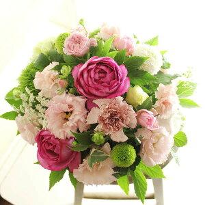 アレンジメントフラワー Round Basket(ピンク系)※デザイナーが手がけるお洒落な一品誕生日祝い 誕生祝い 誕生日 バースディ 出生 贈り物 フラワーギフト プレゼント お祝い お花 送料無料