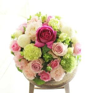 アレンジメントフラワー Round Basket(ピンク系)※デザイナーが手がけるお洒落な一品結婚祝い 入籍祝い ブライダル ウェディング 婚約 贈り物 フラワーギフト プレゼント お祝い お花 送料