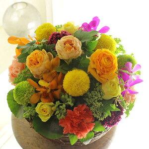アレンジメントフラワー Round Basket(黄色・オレンジ系)※デザイナーが手がけるお洒落な一品入籍祝い 結婚祝い 結婚周年祝い ブライダル ウェディング 贈り物 フラワーギフト プレゼント