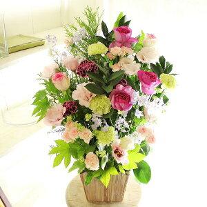 アレンジメントフラワーLサイズ Girlishness(ピンク系)※デザイナーが手がけるお洒落な一品誕生日祝い 誕生祝い 誕生日 バースディ 出生 贈り物 フラワーギフト プレゼント お祝い お花 送