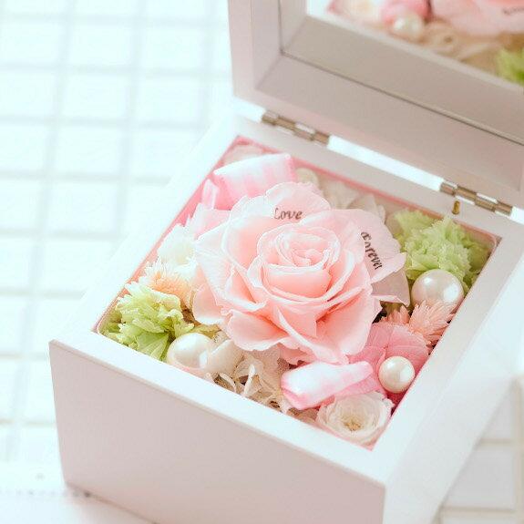 誕生日、プロポーズや告白などに人気【電報付きのフラワーギフト】メッセージフラワー 高級オルゴールBOX(ピンク)と電報を同時に配送【全国送料無料】