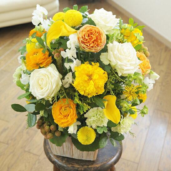 お見舞いや退院祝い、快気祝いのプレゼントにおすすめ!デザイナーズ アレンジメントフラワーMサイズ Warm Impressed(黄色・オレンジ系)と電報を一緒に宅配します【祝電とお祝い花がセットになったフラワーギフト】※全国送料無料