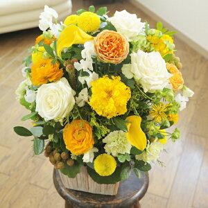 【電報(祝電)とお花を一緒にお届け】デザイナーズ アレンジメントフラワーMサイズ Warm Impressed(黄色・オレンジ系)誕生日祝い 誕生祝い 誕生日 出生 バースディ 贈り物 フラワーギ