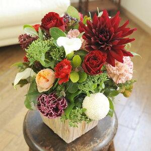 【電報(祝電)とお花を一緒にお届け】アレンジメントフラワーSサイズ Vivid Red(赤系)移転祝い 開店祝い リニューアルオープン 就任祝い 退職祝い 贈り物 フラワーギフト プレゼント
