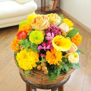 【電報(祝電)とお花を一緒にお届け】アレンジメントフラワー Round Basket(黄色・オレンジ系)結婚祝い 出産祝い 誕生祝い 開店祝い 就任祝い 昇進祝い 贈り物 フラワーギフト プレゼン